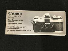 Genuine OEM Canon Data Back A and F Instructions Manual Guide Book Multi Langs