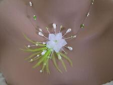 Collier original Blanc/Vert pomme p robe de Mariée/Mariage/Cérémonie Fleur/Plume