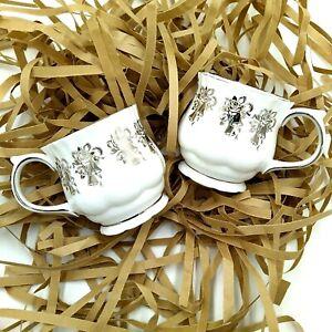 2 Fine Bone China 25th Anniversary cups mugs Elizabethan Staffordshire England