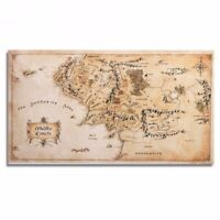 Map of Middle Earth Lord Of The Rings Silk Cloth Poster Wall Sticker 43 x 24""