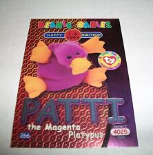 Ty S2 Beanie Card Birthday Patti The Platypus Silver Insert Usa Version