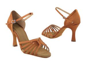 Women's Dark Tan Satin Ballroom Salsa Mambo Latin Dance Shoes heel 2.5 Size 7.5