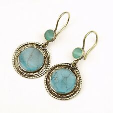 Pair TURQUOISE Earrings Belly Dance TRIBAL Unique Kuchi 725f4