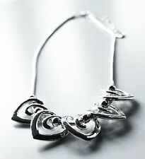 """Heart Necklace, 5 Large Love Hearts. Silver colour. Nickel Free. 9"""" / 23 cm"""