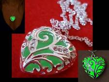 Green Glow In The Dark Crystals Necklace Gift for HER with Gift Pouch