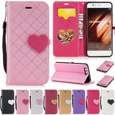 Heart Plaid Wallet Leather Flip Case Cover Card For Huawei P9 P10 Lite Y7 Mate 9