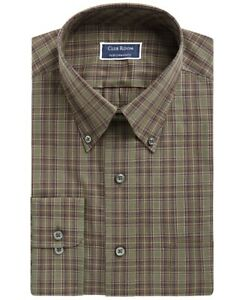 Club Room Men's Dress Shirt Green Size 18 1/2 Stretch Non-Wrinkle $55 427