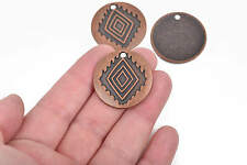 5 Southwest Style Pendant Charms, Copper Diamond Pattern Charms, 30mm, chs2869