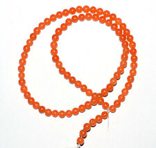 "Orange Carnelian Jade Gemstone 4 mm Round Smooth Beads 13"" 2 Loose Strand ULO11"