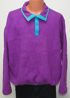 vtg Land's End NEON PURPLE FLEECE Unisex XL 90s pullover jacket ski fun