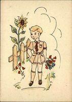 Color Künstlerkarte Kunst Postkarte Kind in Unfiform vor Sonnenblume ca. 1940