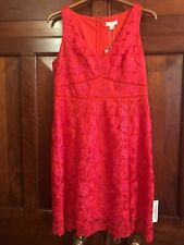 MONSOON Dress UK 16 LUCIA Pink Red Lace Party Cocktail Cruise BNWT £119