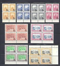 COLOMBIA 1951 OVERPRINTS 'L'  8 BLOCKS X 4 STAMPS MNH