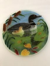 "Peggy Karr Fused Art Glass Bird Loon Plate 11 1/8"" Signed Collectors"