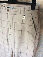 "CROSS Sweden Grey Plum Blue Check Golf Trousers Pants Size 32"" Length 32"""