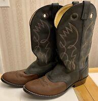 EUC! Original Justin Juniors Cowboy Boots Leather Size 5.5 Black Brown