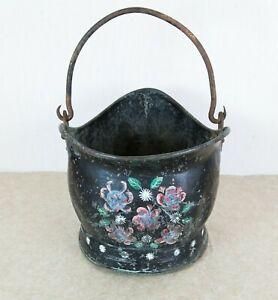Vintage Bargeware Painted  Coal Scuttle - 1950s Original - Folk Art, Log Basket