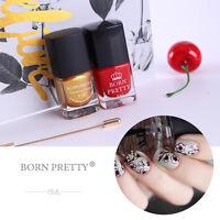 2Pcs Nail Stamping Polish Nail Art Stamp Varnish Born Pretty 6ml DIY Gold&Red