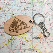A-frame pop up camping trailer oval key chain