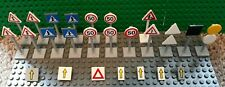 LEGO LOT Traffic Signs Street Posts Arrow Yield Ped-Xing Construction Speed 50