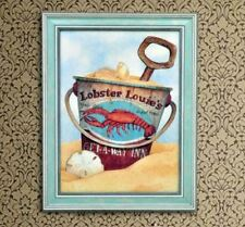 Home Decor Painting Picture Canvas Wooden Frame Wall Art Beach Bucket Lobster