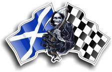Grim REAPER Muerte Diseño con Escocia Escocés Bandera Vinilo Coche Pegatina 130x80mm