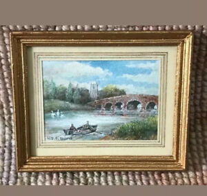 Dollhouse Miniature Signed KJF Bird Framed Watercolor Painting Picture 201