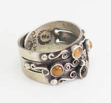 Modern vintage sterling silver tiger eye open design ring sz 7 Taxco Mexico