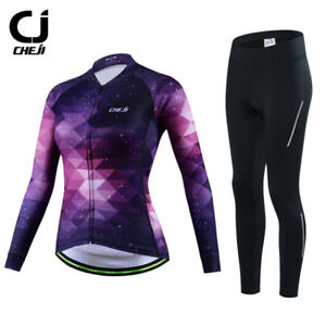 CHEJI Women's Cycling Clothing Winter Fleece Thermal Jersey and Pants Padded Kit