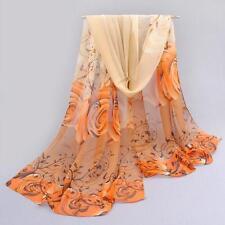 Fashion Women Beautiful Rose Pattern Chiffon Shawl Wrap Wraps Scarf Scarves H