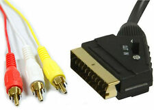 1.5m Scart to 3 x Phono Cable IN OUT Switchable Triple RCA Composite Lead Switch