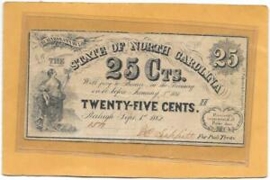 1862 NORTH CAROLINA CURRENCY 25 CENTS - Civil War Fractional Confederate Money
