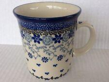 NEW C.A. Polish Pottery Straight Sided 13 oz.MUG-Amazing Lace