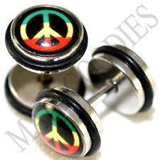 0010 Fake Cheater Faux Illusion Plugs 16G Look 0G 8mm Peace Sign Rasta Jamaican