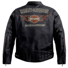 Harley Davidson Men's Classic RIDE READY Black Leather Jacket L 98000-10VM New