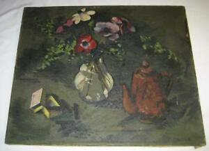 VINTAGE FREDERICK SISSON 1949 NEW ENGLAND MODERNIST STILL LIFE OIL PAINTING