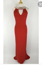 Tiffany Atlanta Prom Red Cut Out neck Long Dress size 12 BNWT