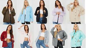 Ladies Plain Classic Thick Shirt Over Jacket Shacket UK Size 8-14