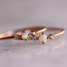 18K Rose Gold Filled White Opal Diamond Engagement Rings for Women Size 5 - 10