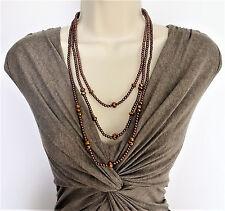 """Beautiful 28"""" Lunga Collana con perline di vetro a strati in bronzo metallico tono"""