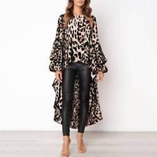 Fashion Women Leopard Print Shirt Top Ladies Autumn Asymmetric Blouse Dress 6-18