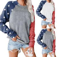Women's Star Print Colorblock Sweatshirt Long Sleeve Pullvoer Blouse Sweatshirt