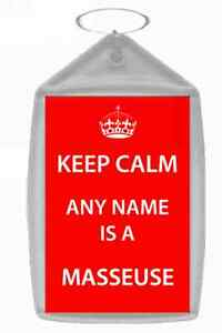 Masseuse Personalised Keep Calm Keyring
