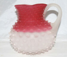 ANTIQUE VICTORIAN RUBINA FROSTED ART GLASS CRANBERRY HOBBS 323 HOBNAIL PITCHER