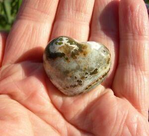 Ocean Jasper HEART Orbicular Sea 19g Healing Crystal Pocket Stone 3.1cm  S0126
