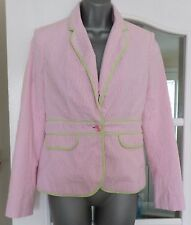 Lilly Pulitzer tessuto increspato Rosa a Righe Palm Giacca Taglia-USA 4 (UK XS/6)