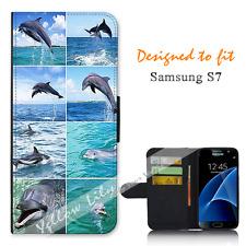 Samsung Galaxy S7 Wallet Flip Phone Case Cover Dolphin Collage Y00786