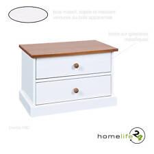 Chevet 2 tiroirs de chambre à coucher en bois véritable laqué blanc et sepia
