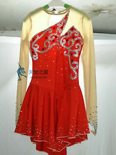 figure skating dresses red women ice skating clothing custom girls crystal silk