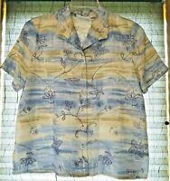 Alfred Dunner Top Size 14 Petite Blue/Tan Button Front Short Sleeve Linen Blend
